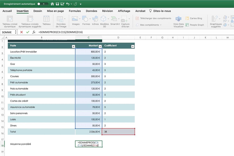 Calculer un moyenne pondérée Excel