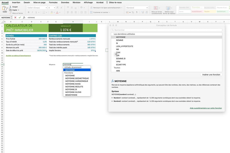 Calculer un moyenne sur Excel