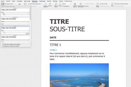 Créer un sommaire sur Microsoft Word