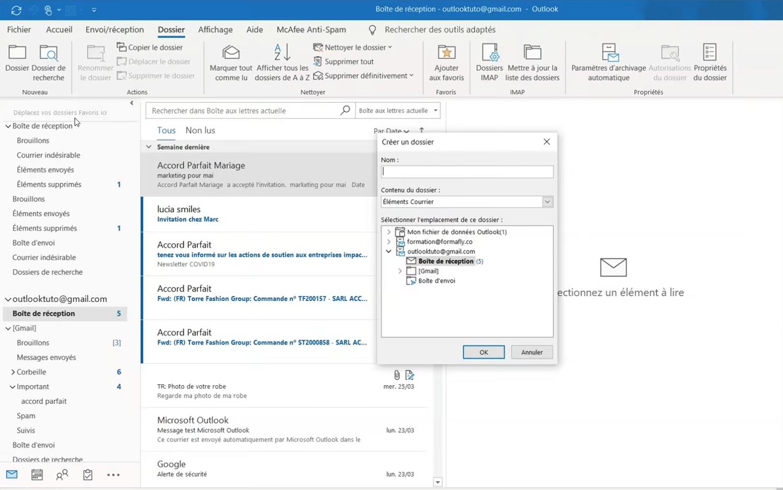 Comment faire une archive Outlook