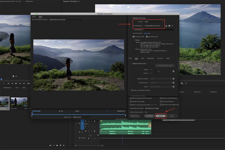 réglages Adobe Premiere Pro