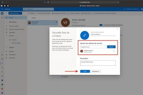 Créer une liste de diffusion Outlook- Microsoft