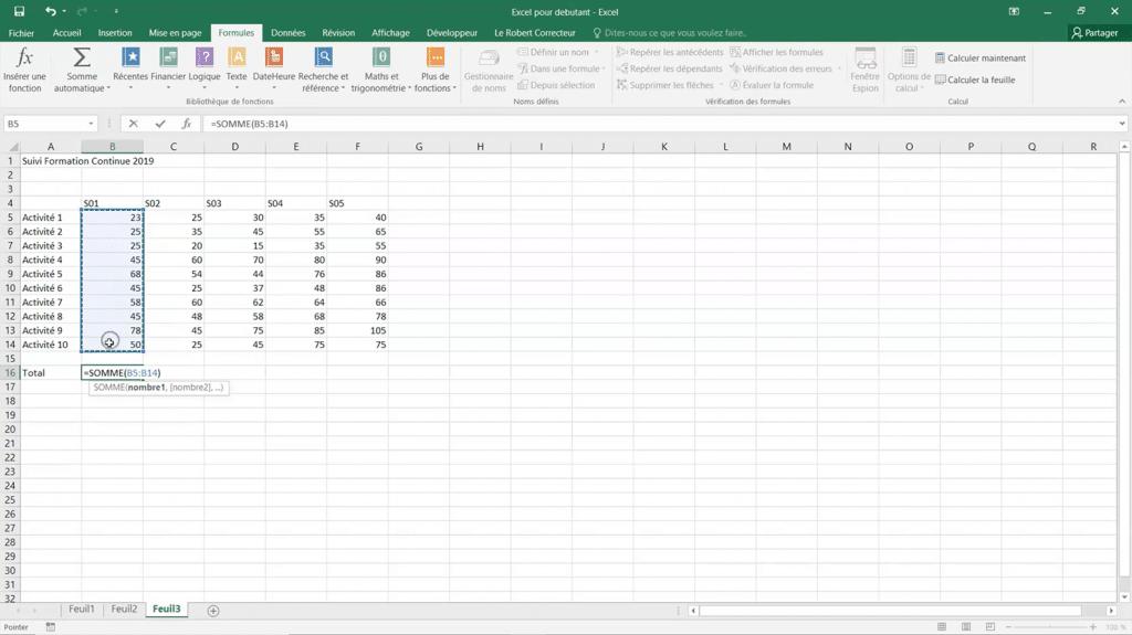 Apprendre comment faire une formule de calcul sur Excel