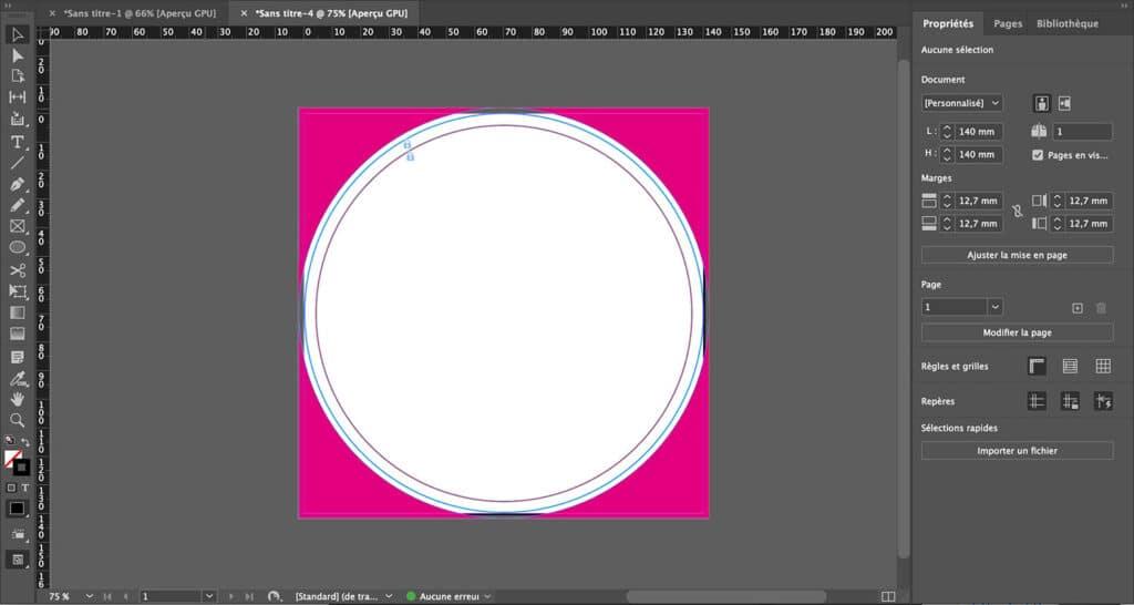 Comment avoir un format de document circulaire sur InDesign pour impression