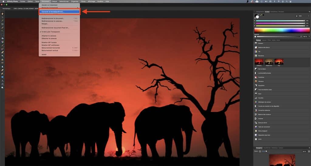 Comment attribuer un profil colorimétrique sur Affinity Photo tutoriel