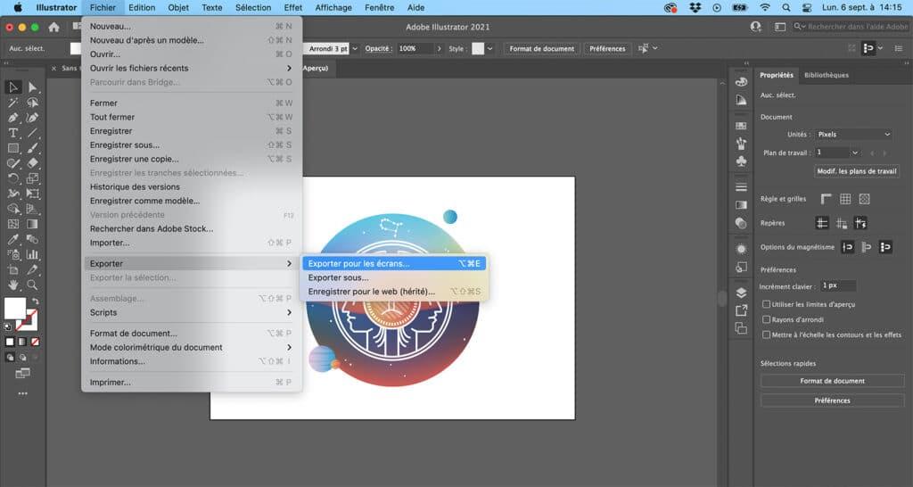 Comment enregistrer au format png sur illustrator