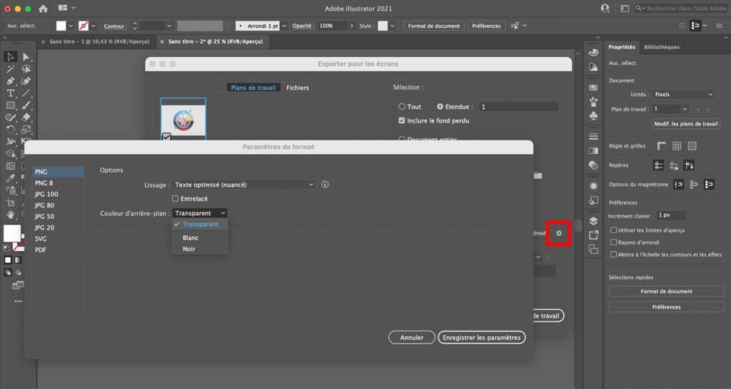 Enregistrer avec un fond transparent sur Illustrator en png