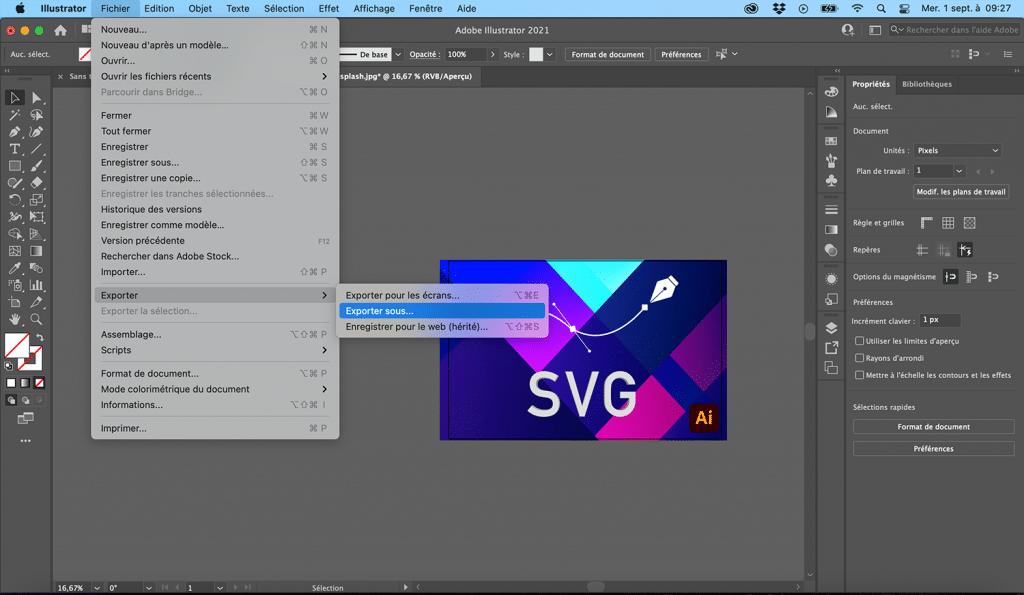Exporter au format vectoriel sur Illustrator CC