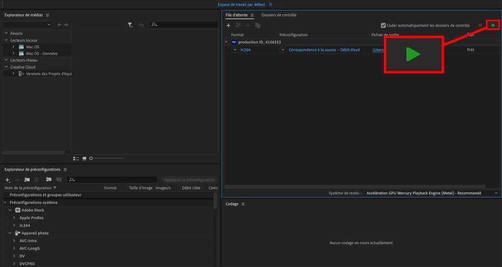 Exporter en format mp4 avec After Effects et Media Encoder