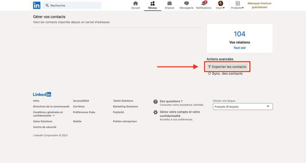 exporter ses contacts LinkedIn au format Excel