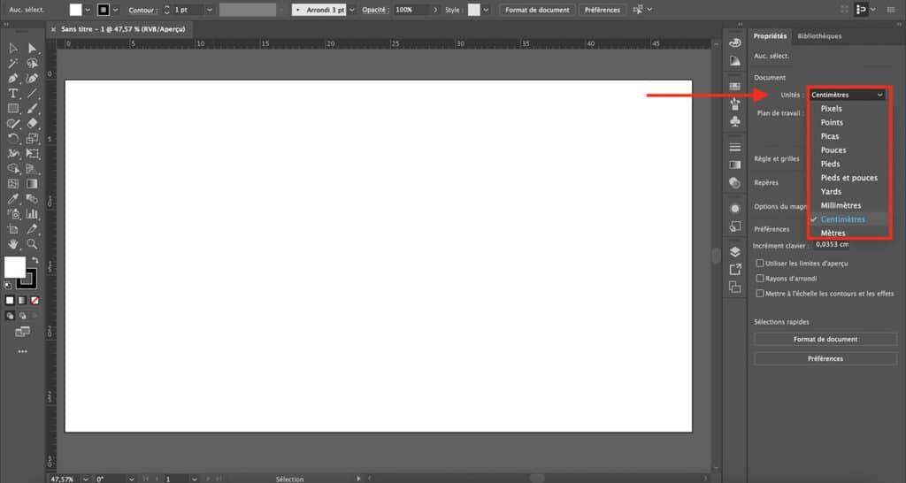 Comment changer le format cm d'un doc existant sur Illustrator